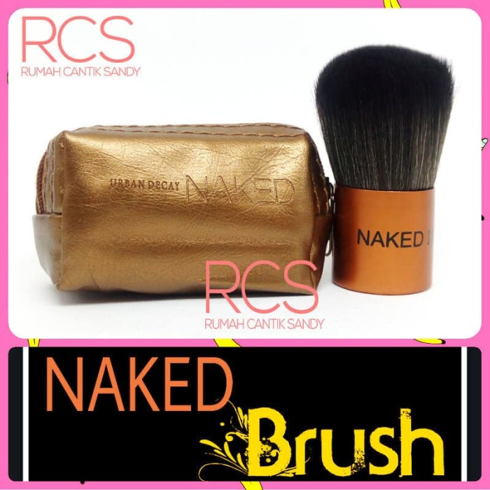 [1 pcs] kabuki naked make up brush ~ kuas makeup + pouch