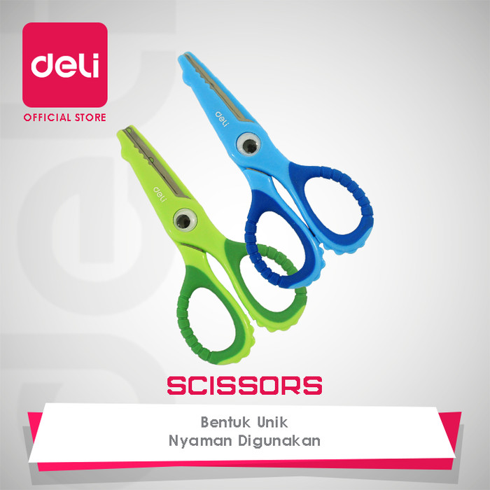 deli soft-touch croco scissors 134mm safe [e6071] - gunting anak