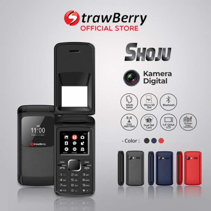 Jual Strawberry Shoju Handphone Flip Hp Murah Kamera Digital