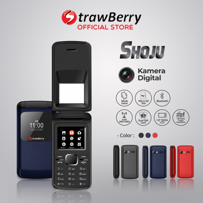 harga Strawberry shoju | handphone flip hp murah kamera digital bluetooth - blue Tokopedia.com