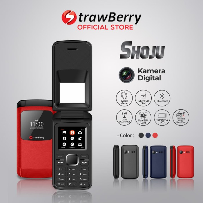 harga Strawberry shoju | handphone flip hp murah kamera digital bluetooth - red Tokopedia.com