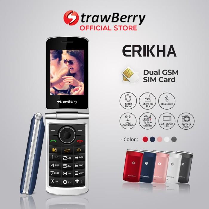 harga Strawberry erikha | handphone flip hp murah kamera bluetooth - blue Tokopedia.com