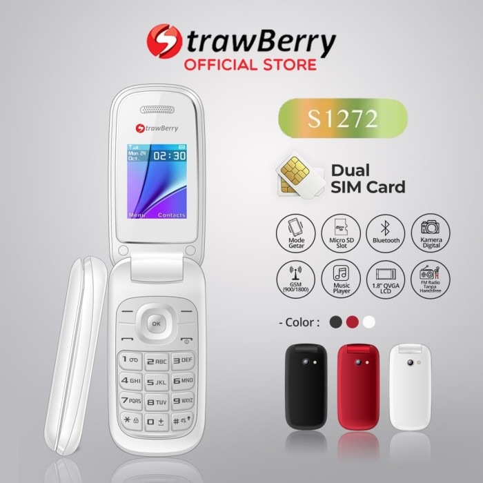 Jual Strawberry S1272 Handphone Flip Hp Murah Kamera Digital