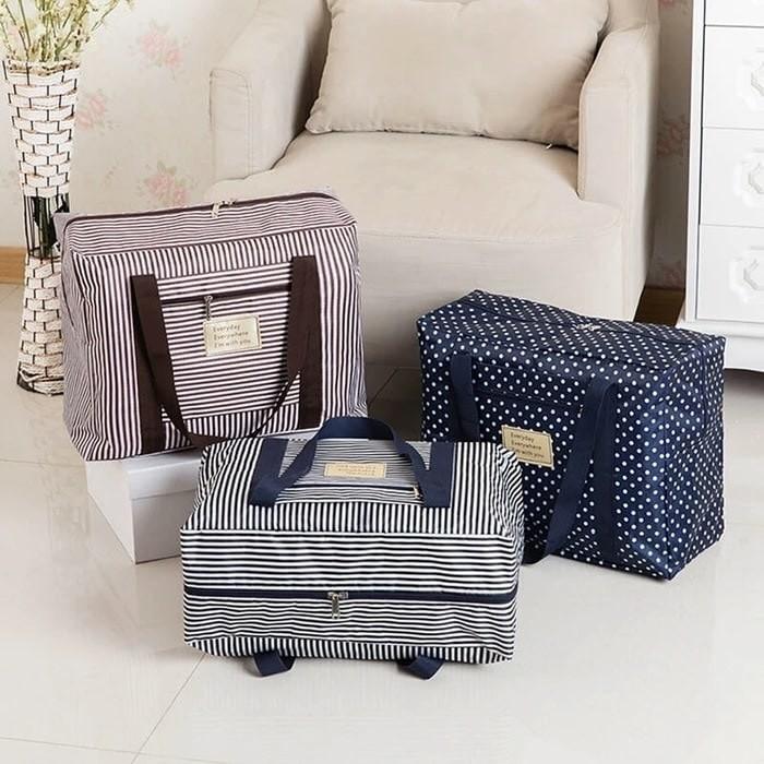 Hand Carry Foldable travel bag salur -polkadot TF80 - Tas Koper Lipat