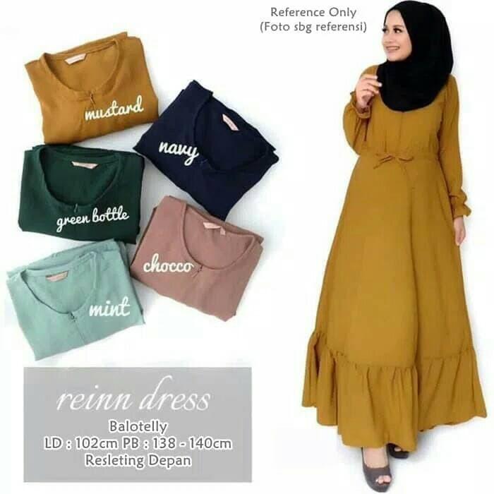 Jual Reinn Dress Baju Gamis Wanita Muslim Polos Dress Casual