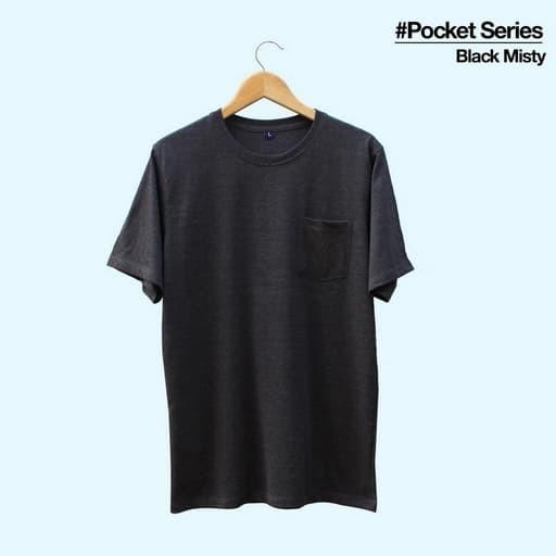 Kaos Polos Pocket Black Misty, Kaos Polos Saku Hitam Misti