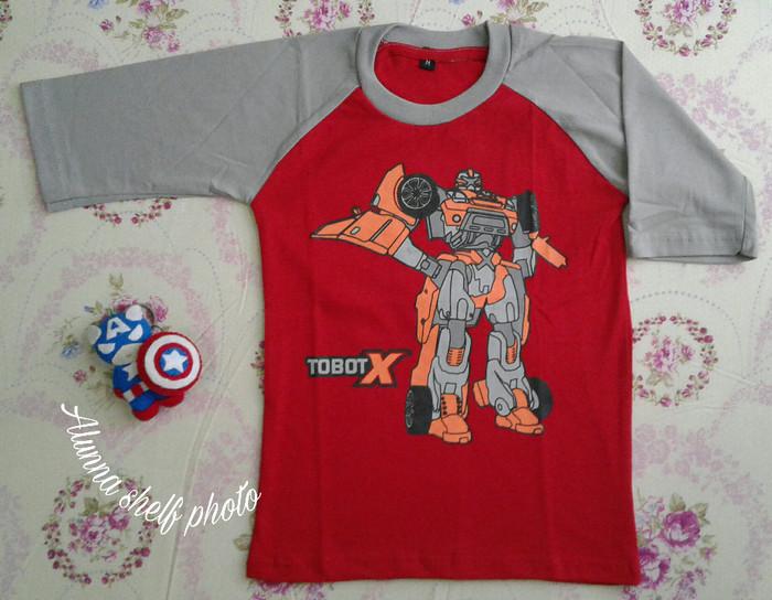 keren harga Kaos anak karakter | robot tobot x | raglan lengan 3 .