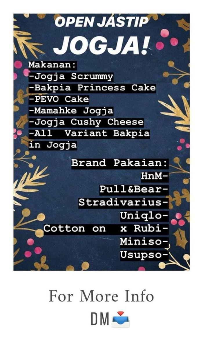 Jual OPEN JASTIP JOGJA PALEMBANG Kota Palembang Thisalbums
