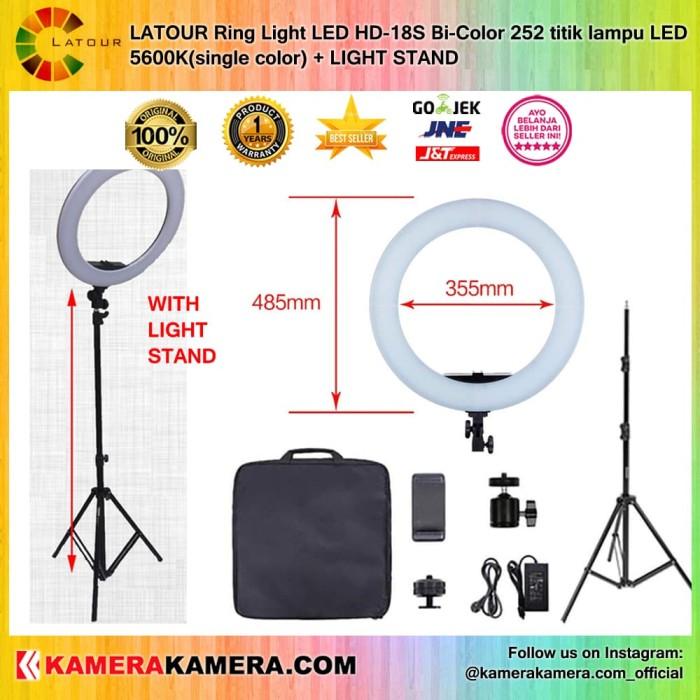 Latour ring light led hd-18s 252 titik lampu led + light stand