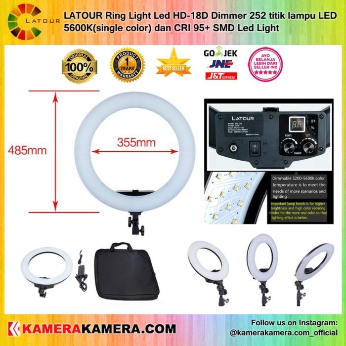 Latour ring light led hd-18d dimmer 252 titik lampu led 5600k