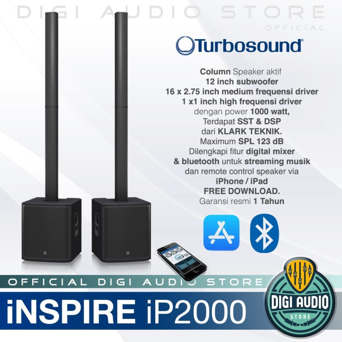 harga Turbosound ip2000 speaker column with 12 inch subwoofer / satu pasang Tokopedia.com