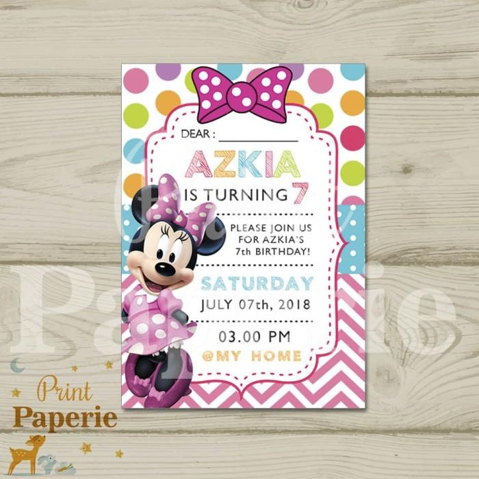 Jual Kartu Undangan Ulang Tahun Anak Minnie Mouse Dki Jakarta Print Paperie Tokopedia