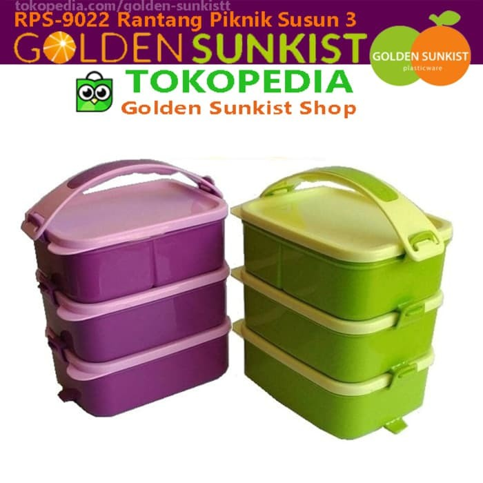 Rantang Piknik Golden Sunkist RPS 9022 Plastik Susun 3