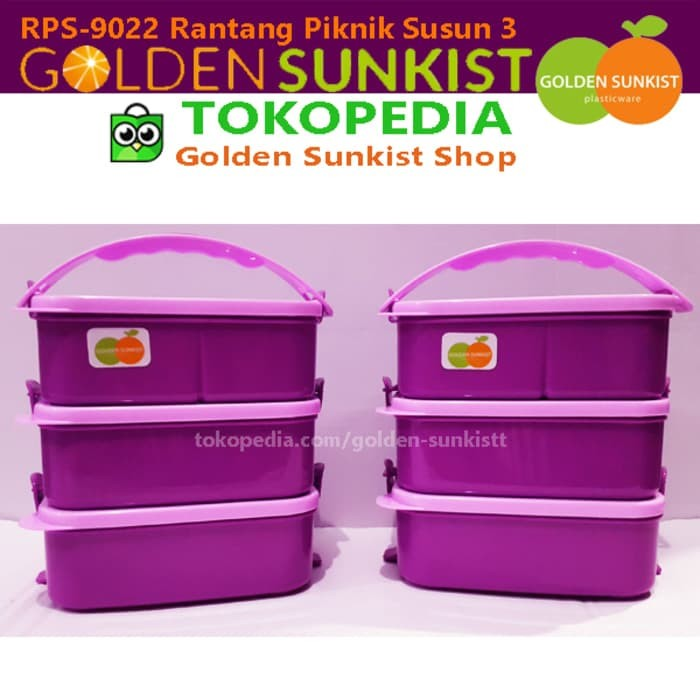 Rantang Piknik Golden Sunkist RPS 9022 / Rantang Plastik Susun 3