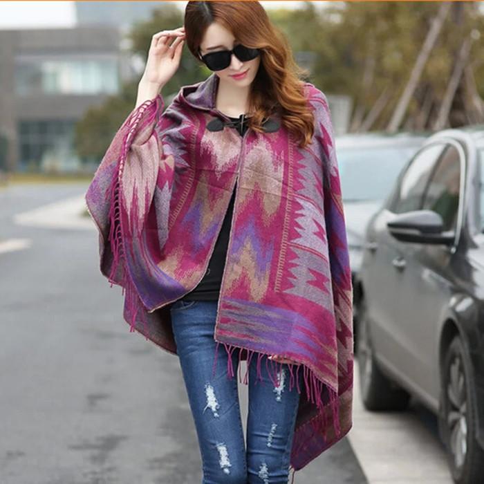 harga Kardigan ponco bolero bohemian batik ungu rumbai fashion wanita Tokopedia.com