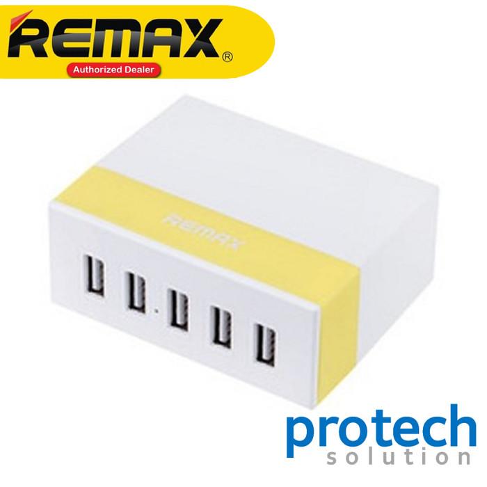 Foto Produk Remax Youth Charger USB 5 Ports 2.4A Charging Hub Original - Kuning dari PROTECH