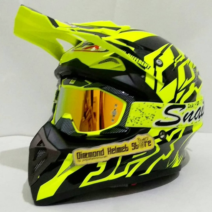 harga Paket helm cross jpx crossline yellow fluo goggle snail carbon yellow Tokopedia.com