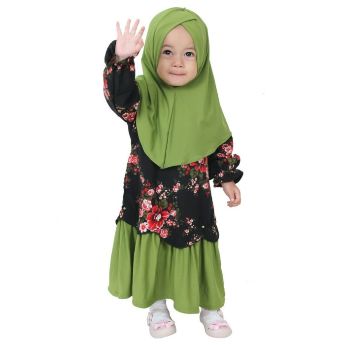 Hawa-Baju Muslim Balita Perempuan 3-4 Tahun / Gamis Anak - Orange Biru