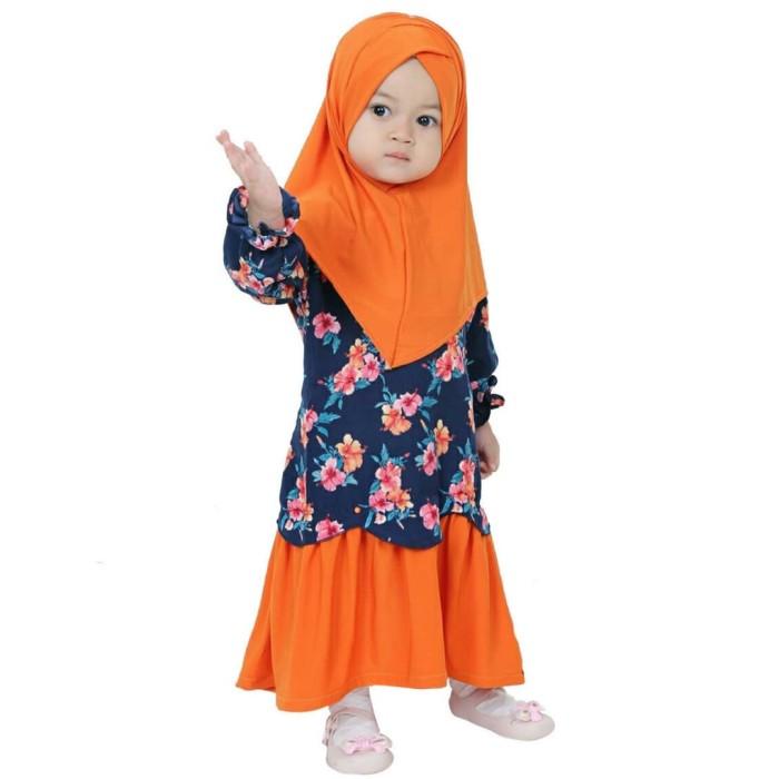 Hawa-Baju Muslim Balita Perempuan 2-3 Tahun / Gamis Anak - Orange Biru