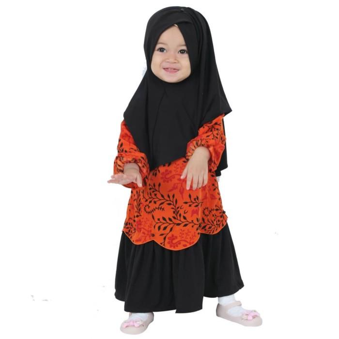 Hawa-Baju Muslim Balita Perempuan 5 Tahun+ / Gamis Anak - Orange Biru