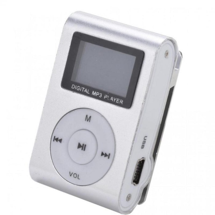 harga Pod mp3 player tf card dengan klip & lcd silver Tokopedia.com