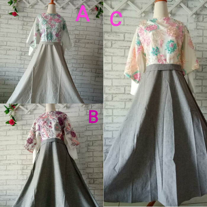 harga Dress brokat butik import xxl good quality murah ful bordir/baju gamis Tokopedia.com