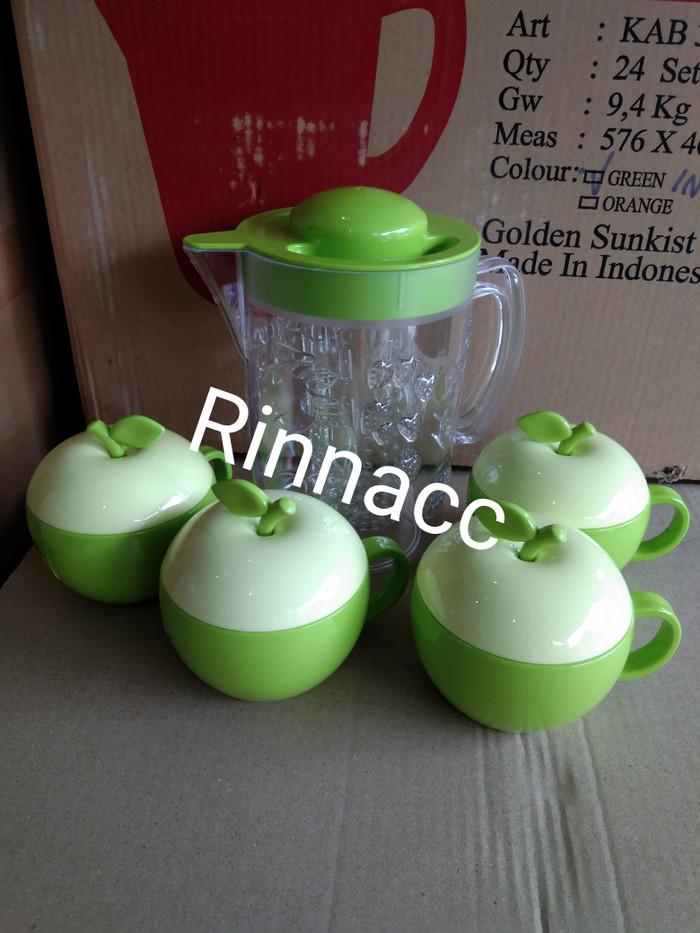Teko set gelas apel golden sunkist / mug gelas apel / teko kristal