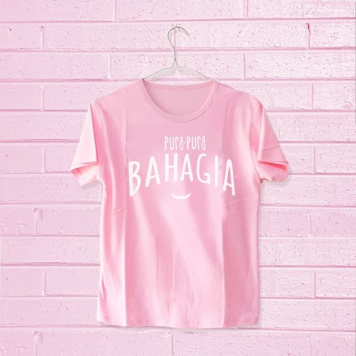 H&K T-shirt / Kaos Wanita / Tumblr Tee Pura-Pura Bahagia - Navy