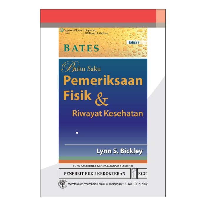 harga Bates buku saku pemeriksaan fisik & riwayat kesehatan edisi 7 Tokopedia.com