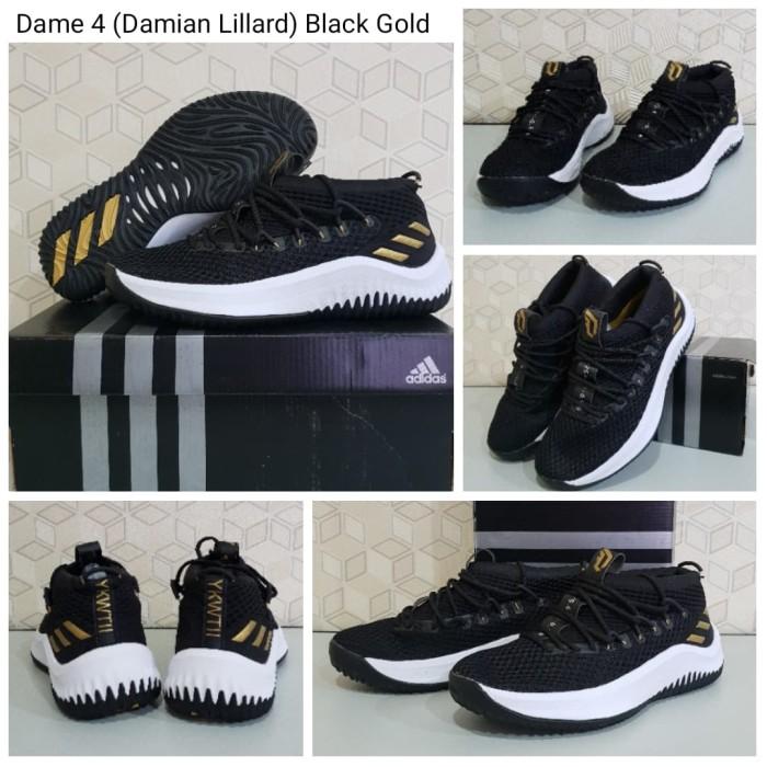 size 40 a2397 1d85d Sepatu Basket Adidas Damian Lillard Dame 4 Premium Free Kaos Kaki - Black  Gold