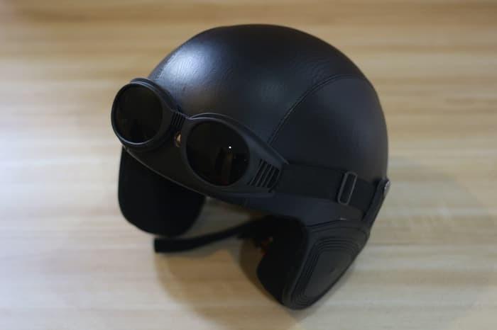 FH.. Helm Bogo - Helm Kulit Kacamata Goggle - Hitam 3