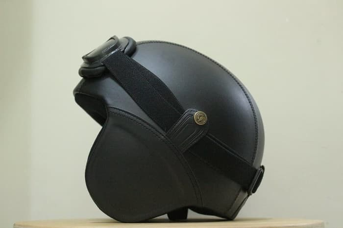 FH.. Helm Bogo - Helm Kulit Kacamata Goggle - Hitam 1