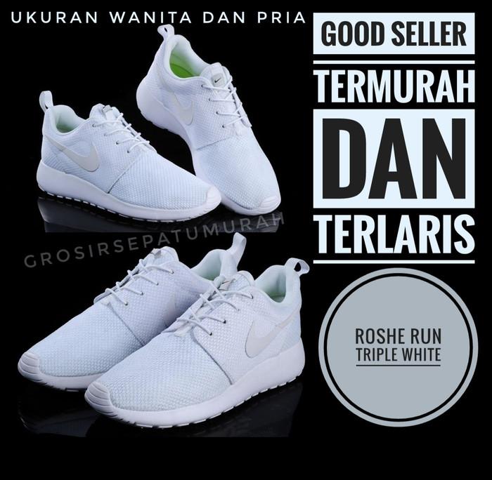 3e1c3a3357c3 Jual Sepatu Nike Roshe Run Full White Pria   Wanita