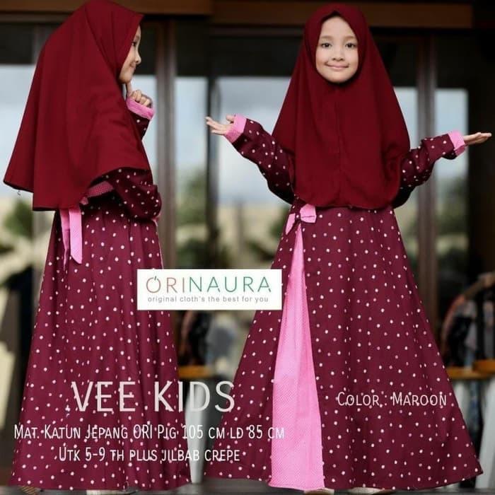 Baju muslim/gamis anak Syari kids vee DM katun fit 5- 9 tahun 2