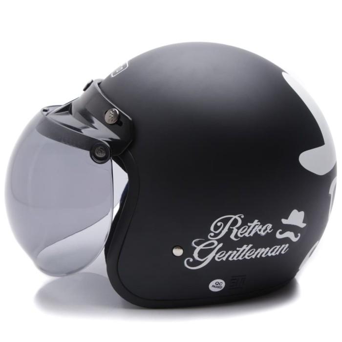 [COUPLE HELM DEWASA] WTO Helmet Retro Bogo - Gentleman - Hitam Doff + 1