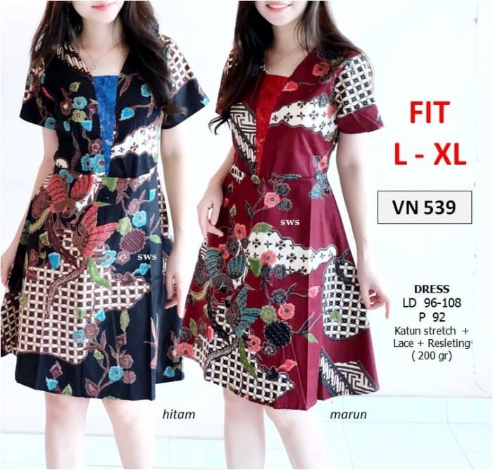 harga Sevn539 dress batik pesta flare natal etnik lace midi murah grosir Tokopedia.com