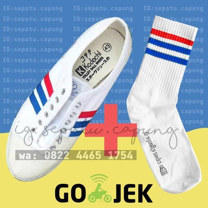 SEPAKET - Kodachi 8111 + Kaos kaki 3 stripe ( biru & merah panjang )