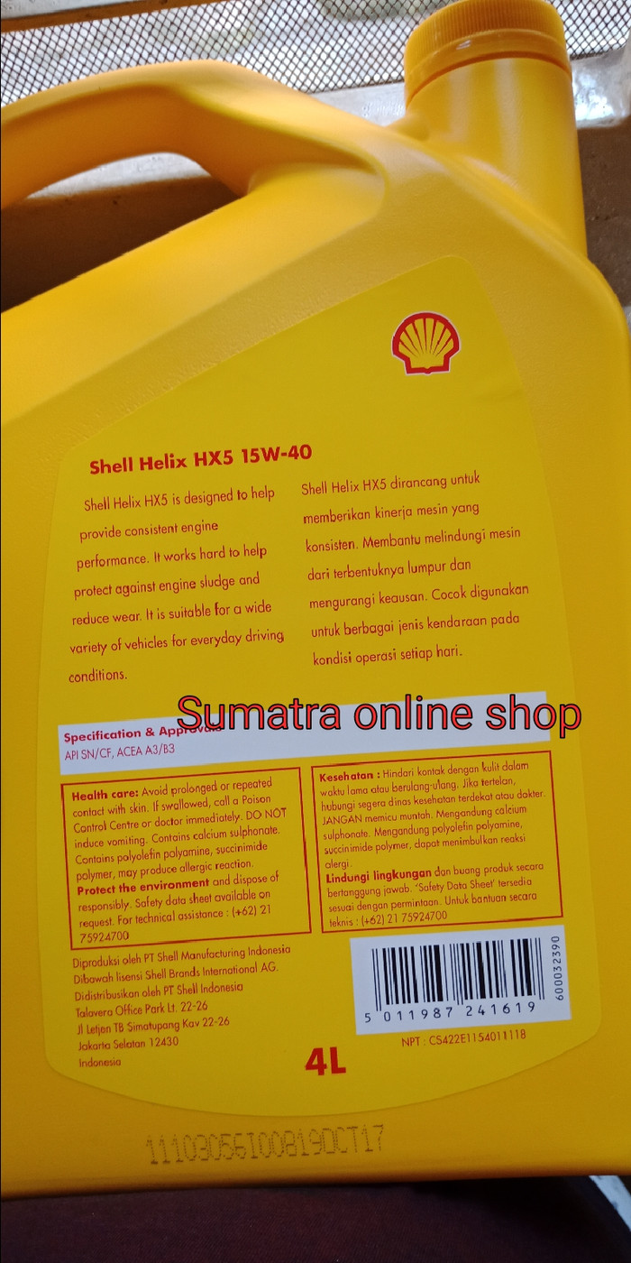 Shell Helix Hx 5 15w 40 Oli Mesin Mobil Bensin Dan Diesel Page 3 Hx5 Api Sn 4 Liter 4liter