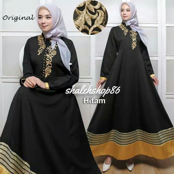 Jual 05214 Gamis Busui Hitam Baju Muslim Bordir Maxi Dress