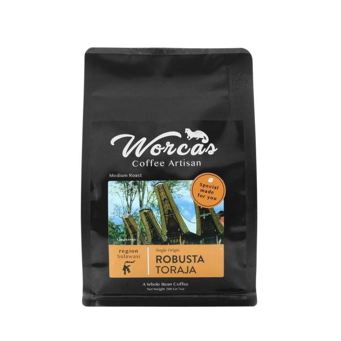 Foto Produk WORCAS Kopi Robusta Toraja 200gr - Medium Roast - KOPI BIJI dari WORCAS COFFEE