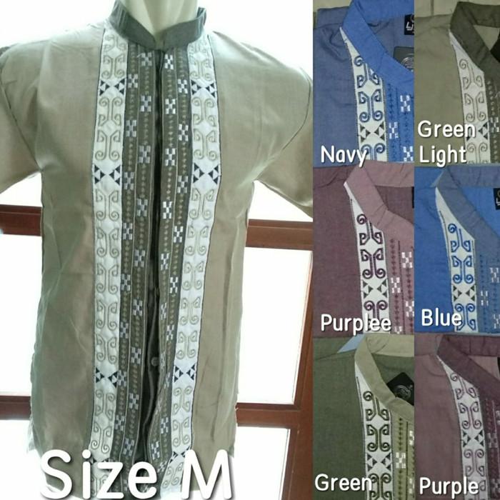 Baju koko lengan pendek motif bordir (2)