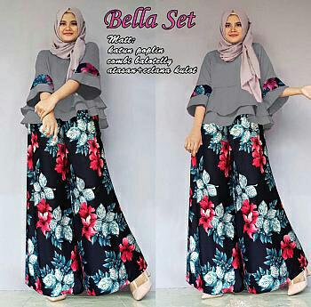 Setelan blouse katun xl muslimah dan celana kulot bunga diniya r1