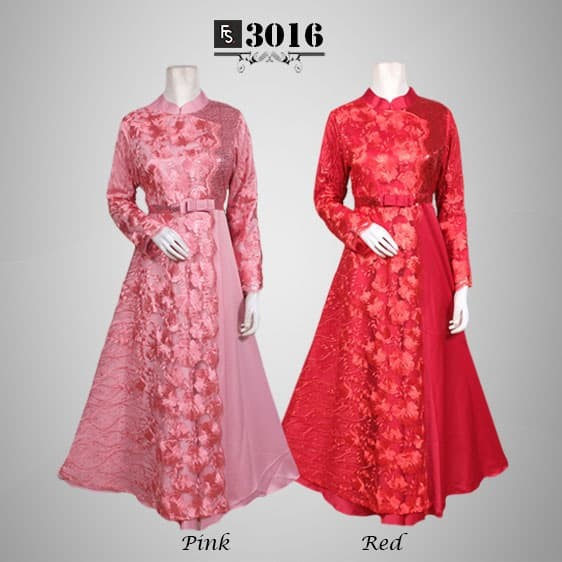 Jual Baju Pesta Gamis Brokat Arista Fs3016 Red L Fika Shop