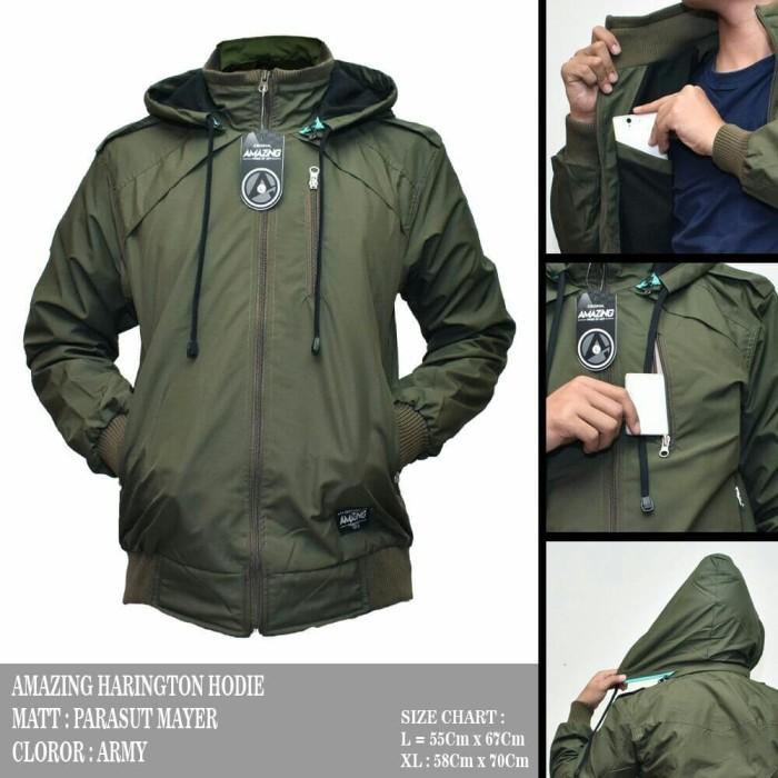 Jaket Pria Amazing Harington Hoodie Army Premium Keren Jaket Parasut T 97d104108d