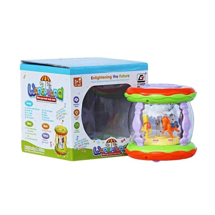harga Wonderland merry go round music drum mini mainan baby - multicolour Tokopedia.com
