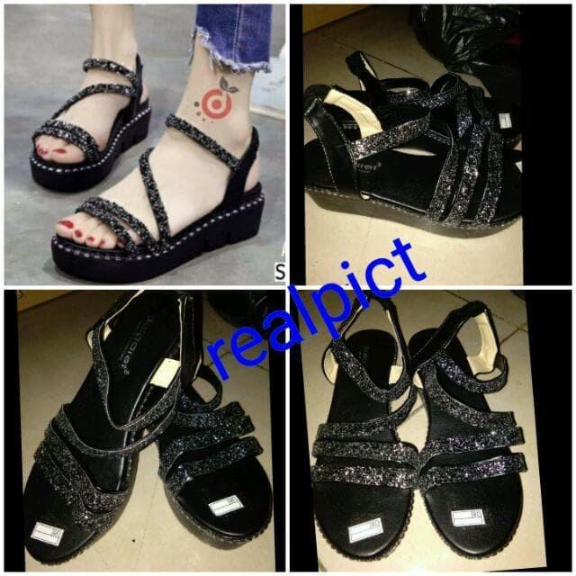 Sandal Wedges Glitter NE14 Hitam