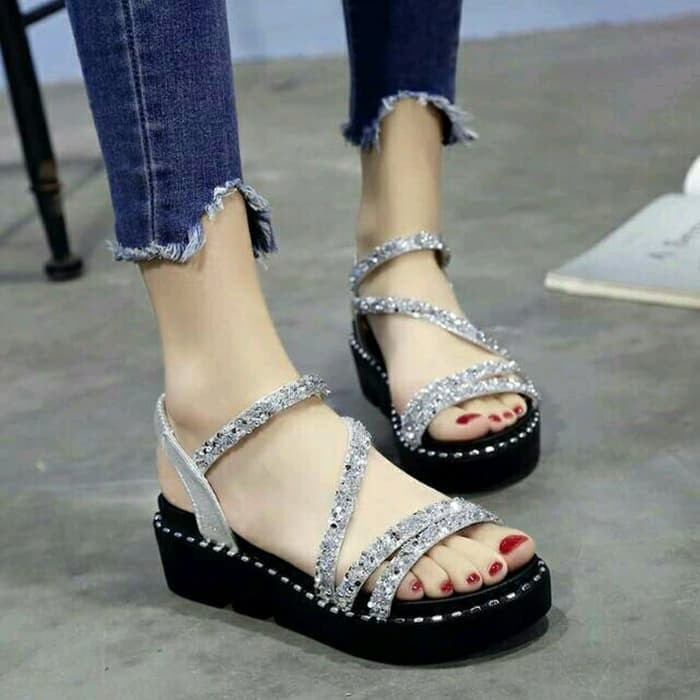 Sandal Wedges Glitter NE14 Silver - Perak, 38