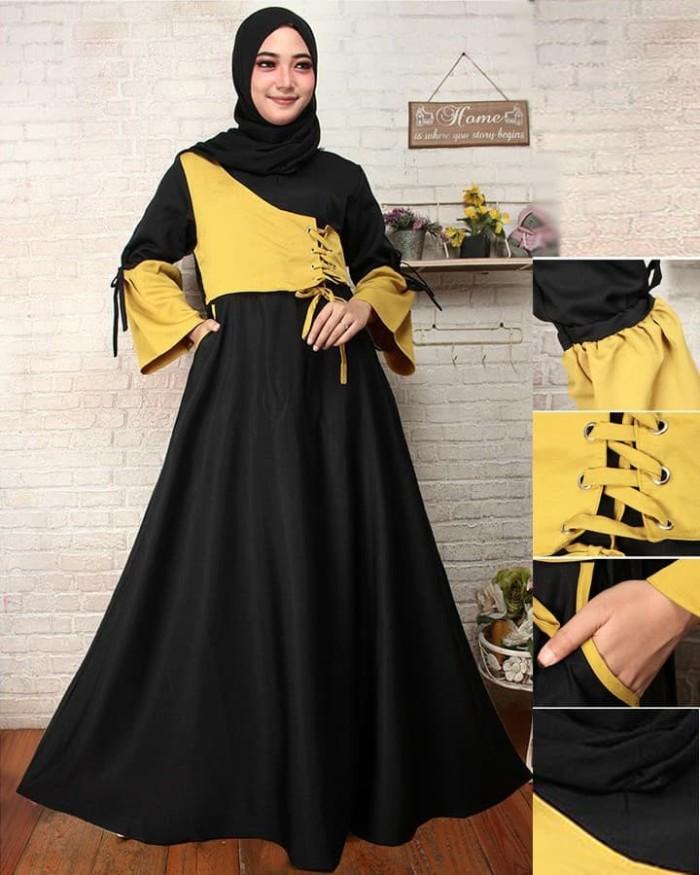 Jual Model Baju Gamis Kombinasi Dua Warna Wanty Yustiana Tokopedia