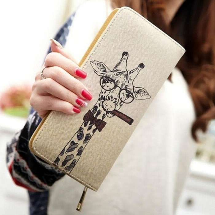 dompet culcth wanita giraffe purse bags zipper card holder best impor