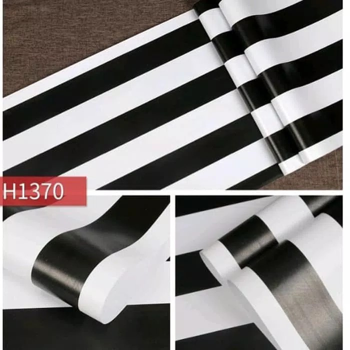 Foto Produk Stripe black & white H1370 45 cm x 10 mtr || Wallpaper dinding dari dedengkot wallpaper